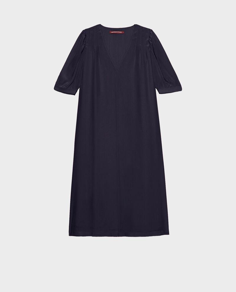 Robe longue ample fluide en soie col V Night sky Manthes
