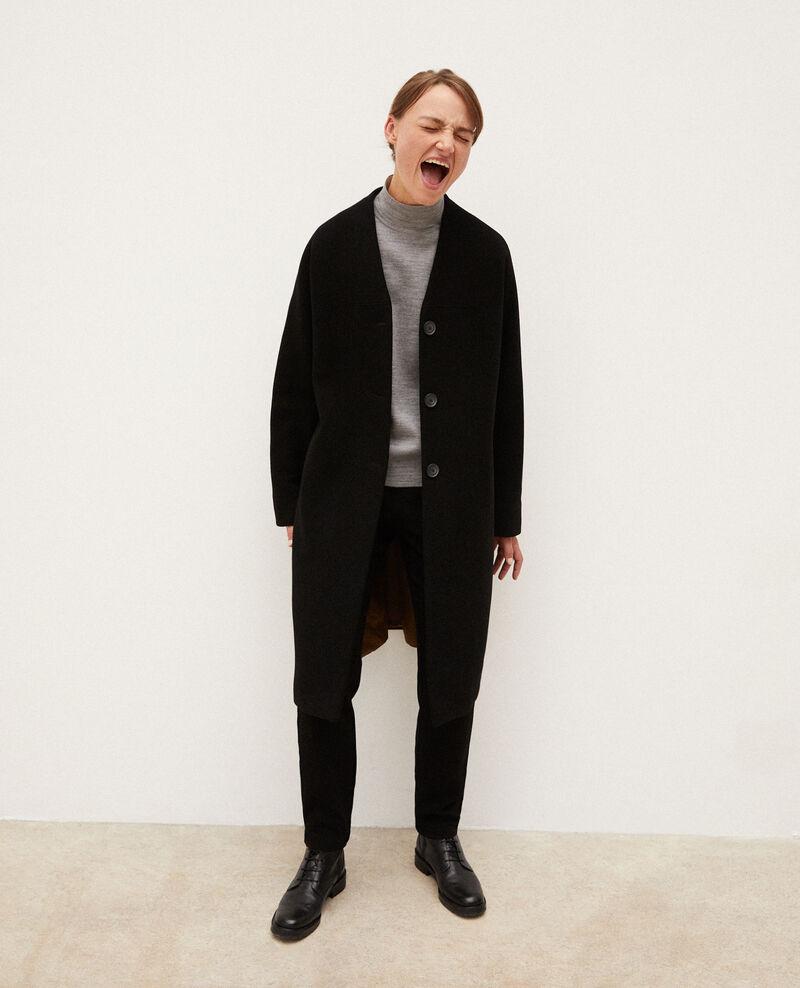 Manteau sans col Noir Gilhard