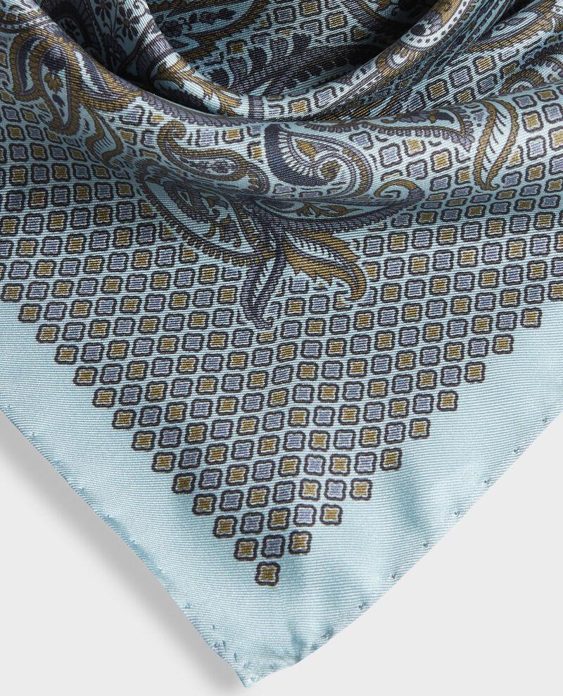 Carré de soie imprimé Stone blue Pachemire