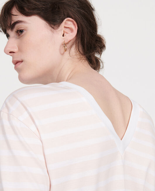 T-shirt en coton Egyptien STRIPES PRIMROSE PINK OPTICAL WHITE