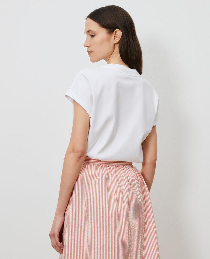 T-shirt col V en coton bio Optical white Nohant