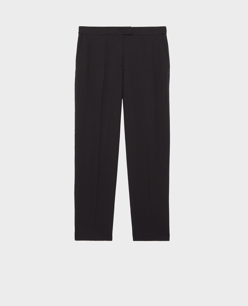 Pantalon MARGUERITE, 7/8e cigarette en laine Black beauty Moko