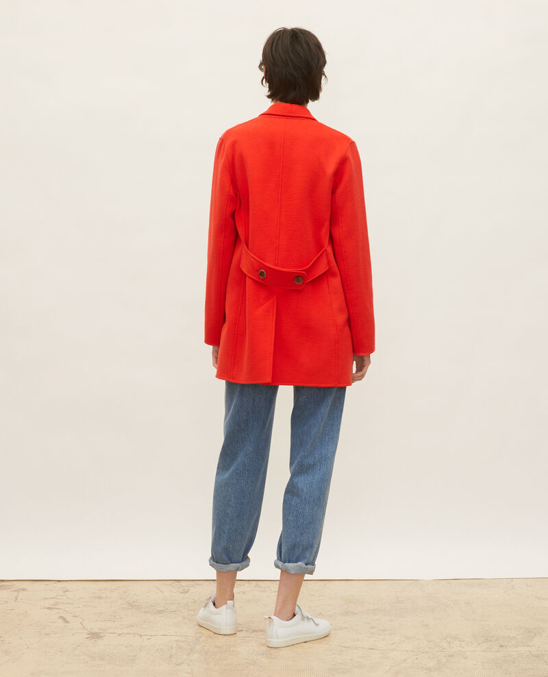 Manteau caban en lainage double face Fiery red Lintot