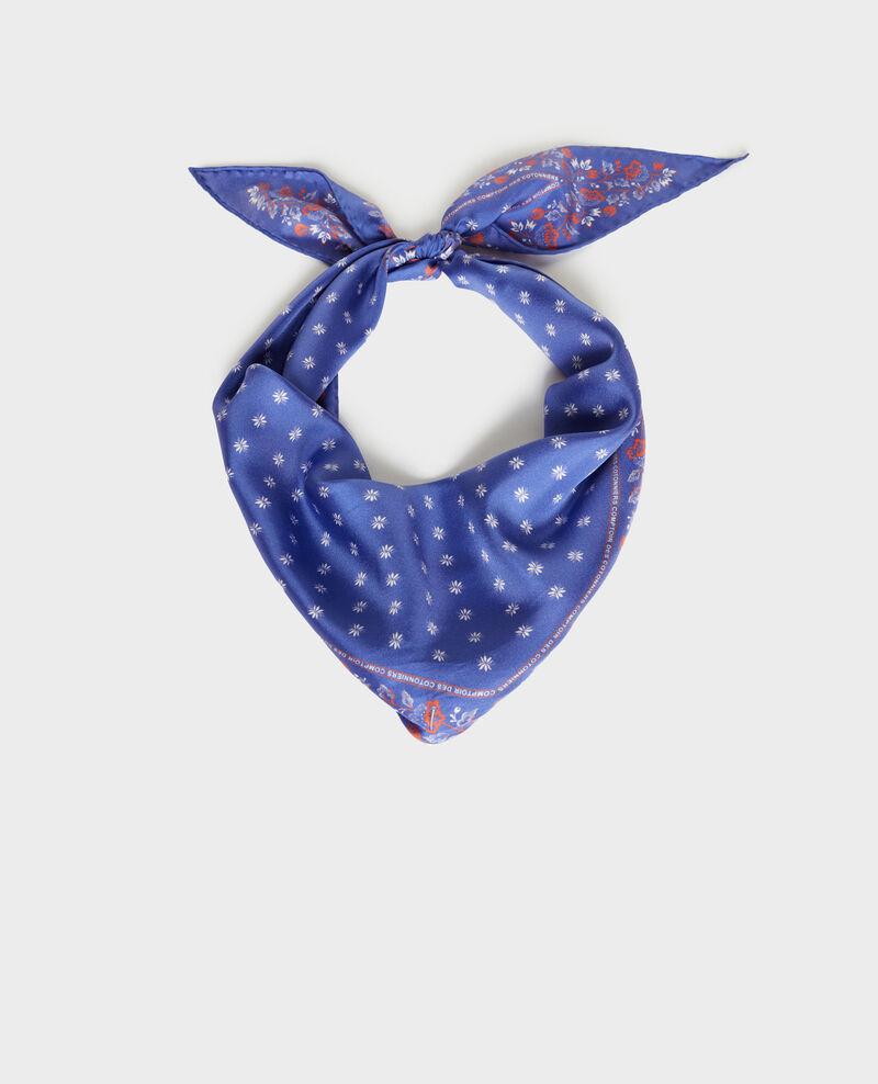Foulard en soie format losange Royal blue Nandana