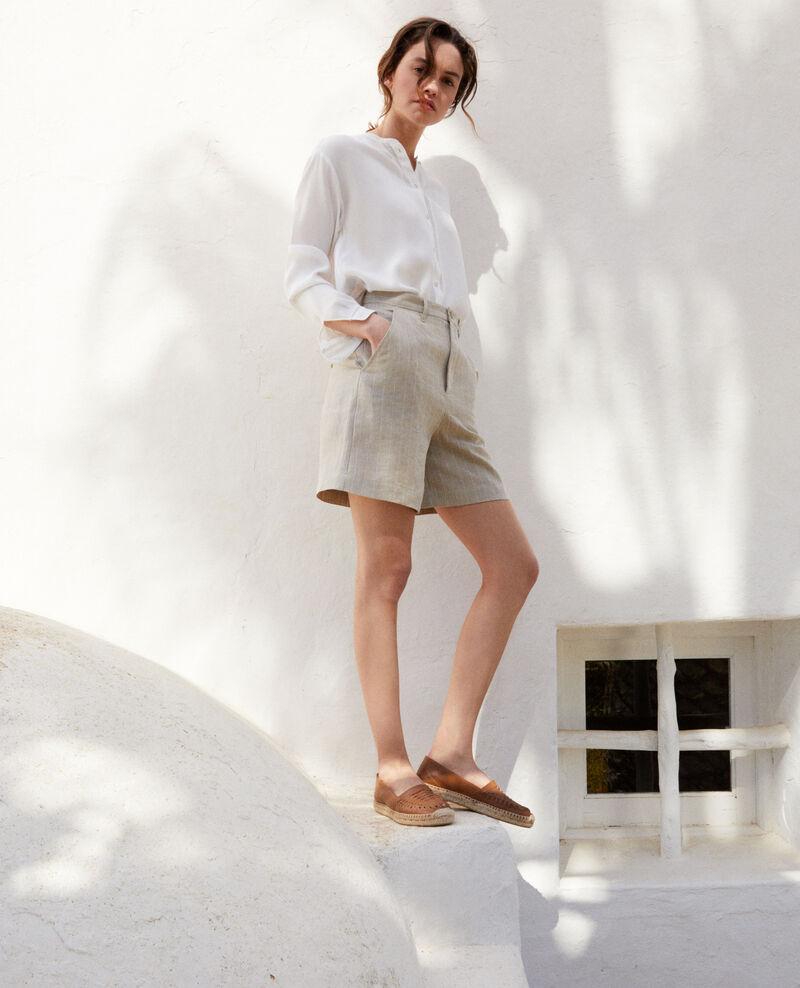 Short en lin Natural linen/off white Icloude