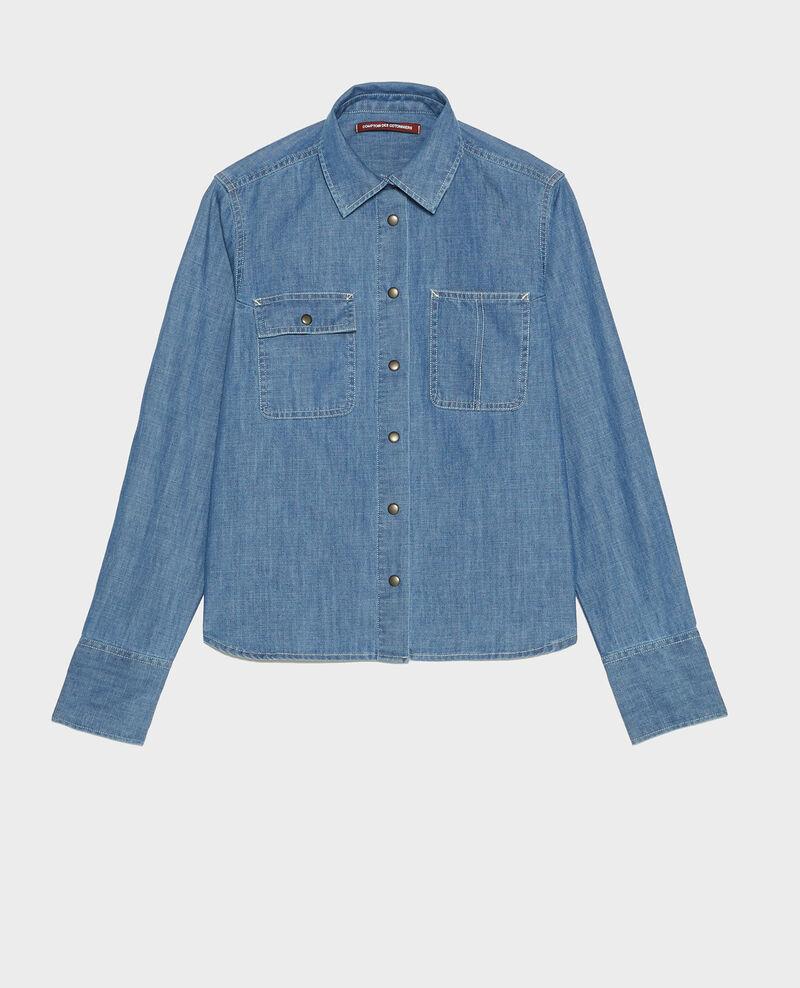 Chemise en jean à poches asymétriques Denim blue Ladigna