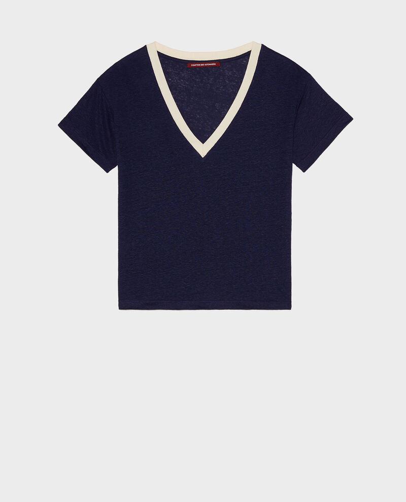 T-shirts en lin Stripes maritime blue buttercream Locmelar