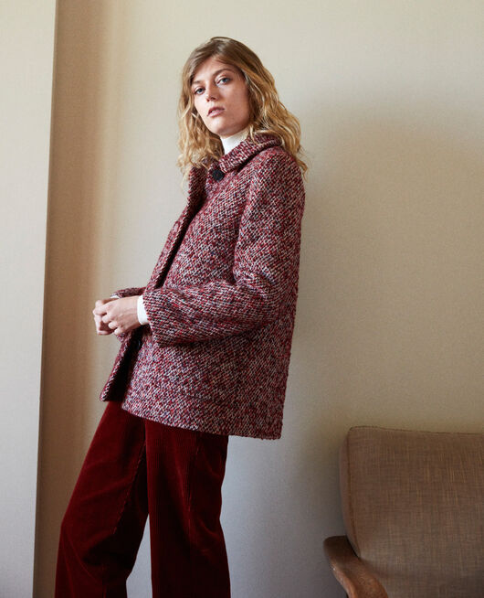 Manteau en tweed RED MELANGE