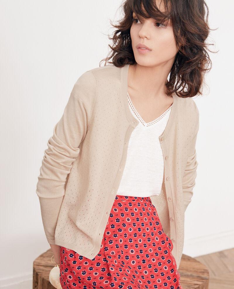 869c7c730d6 Gilet femme en laine couleur Biscuit - 9dappeau
