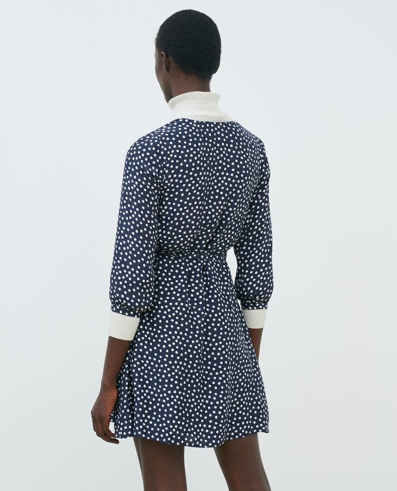 Robe portefeuille en soie Small dots Nireclos