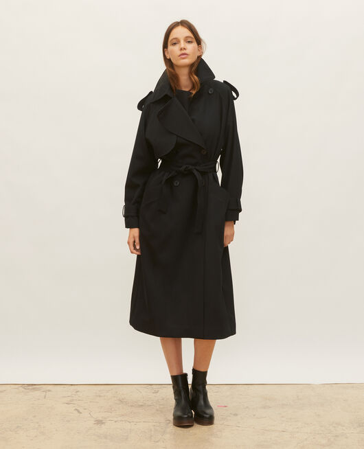 Trench oversize en laine fluide BLACK BEAUTY