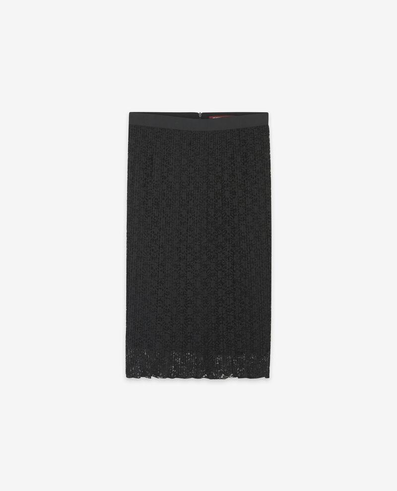 Jupe plissée en dentelle Noir Dohio