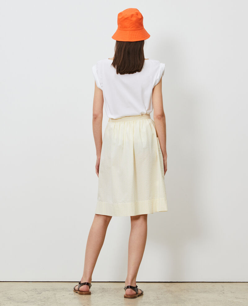 Jupe mi-longue en coton seersucker Str lemon white Nebaral