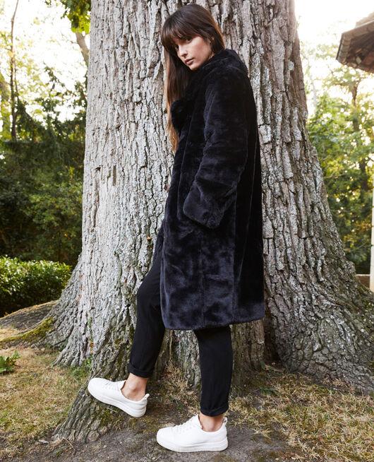 Manteau en fourrure synthétique NOIR