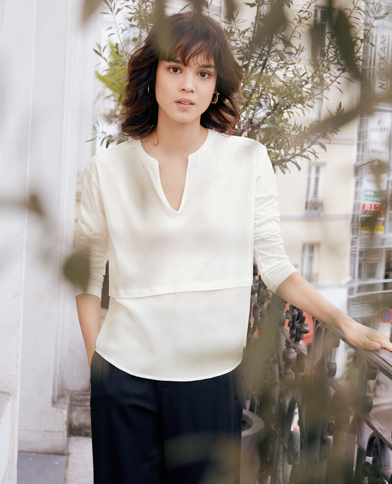 T-Shirt bi-matière avec soie White Fabio