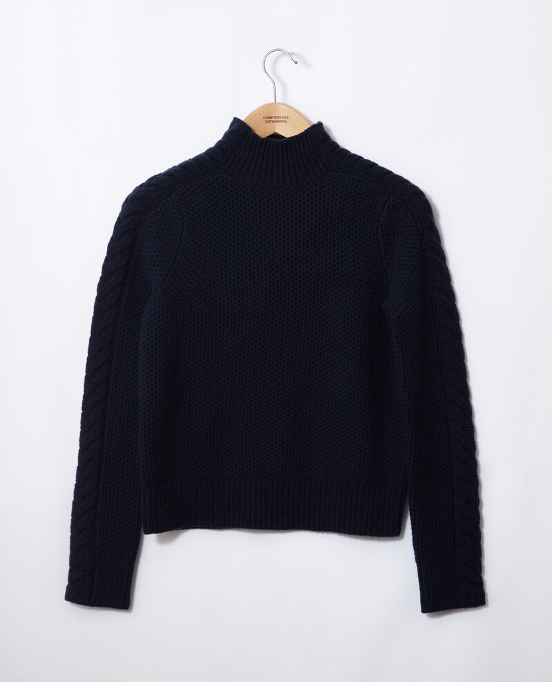 Pull en laine avec détails de tresses Peacoat Garouk