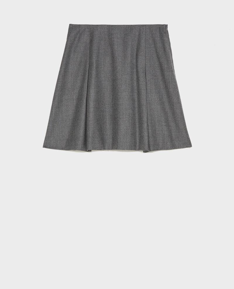 Jupe trapèze courte en flanelle laine Medium grey melange Marcoles