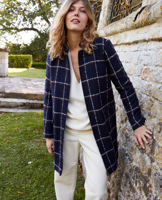 Manteau imprimé carreau NAVY CHECKS