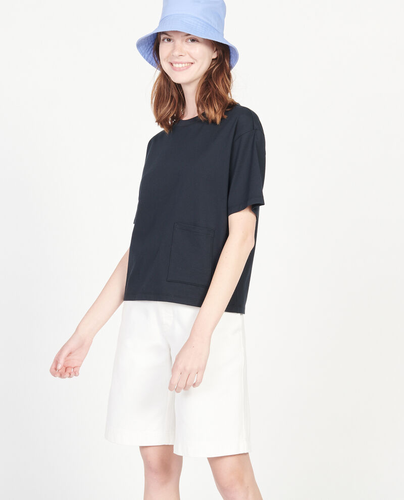 T-Shirt boxy en coton mercerisé Black beauty Lexana