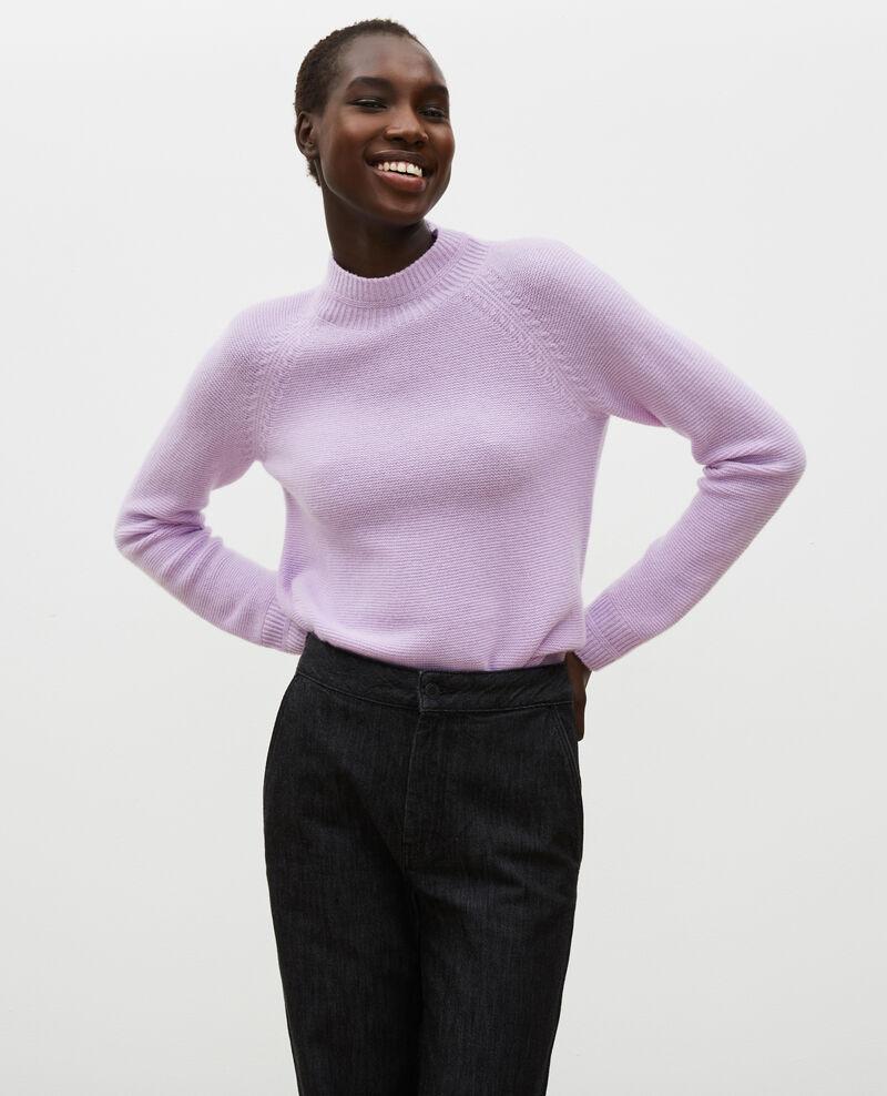 Pull 3D évasé en cachemire col cheminée Pastel lilac Manduel
