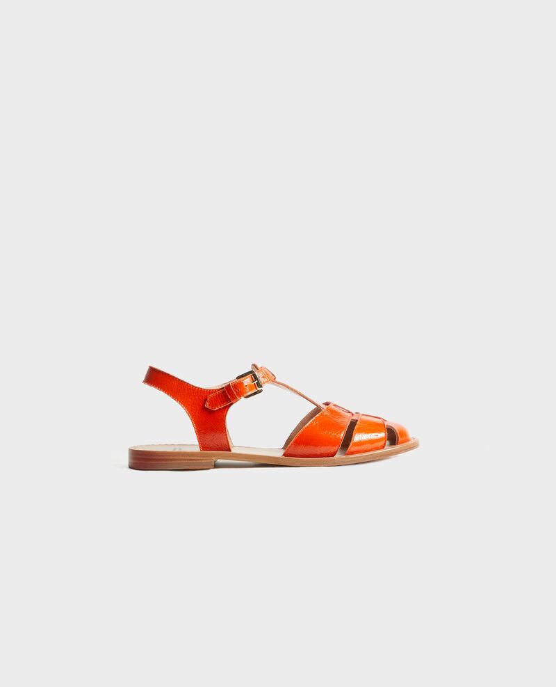 Sandales en cuir verni Spicy orange Lapiaz