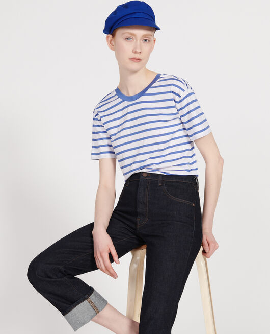 T-shirt en coton égyptien STRIPES OPTICAL WHITE AMPARO BLUE