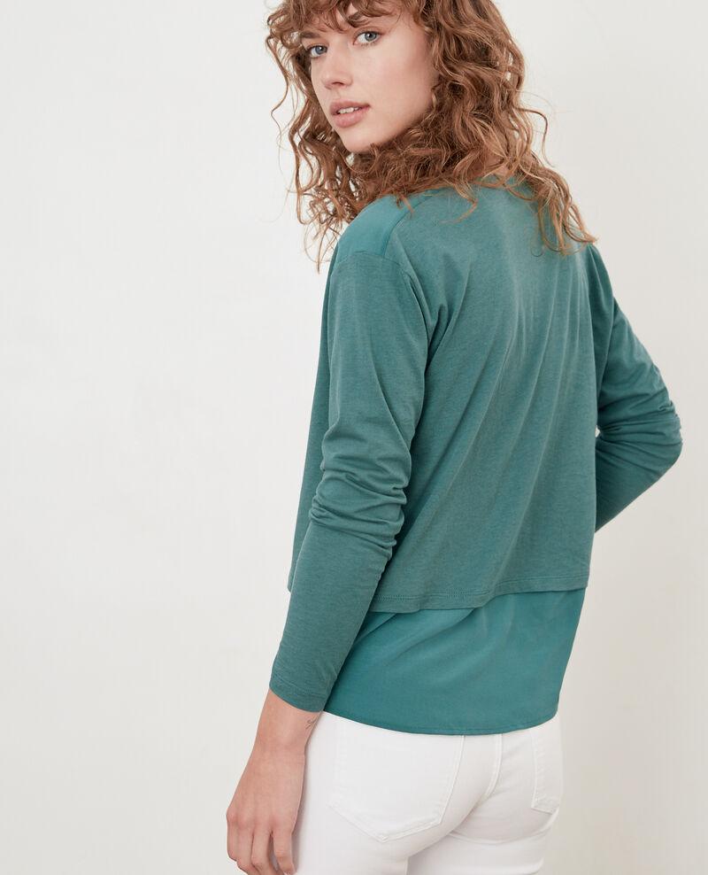 T-Shirt bi-matière avec soie Blue Fabio
