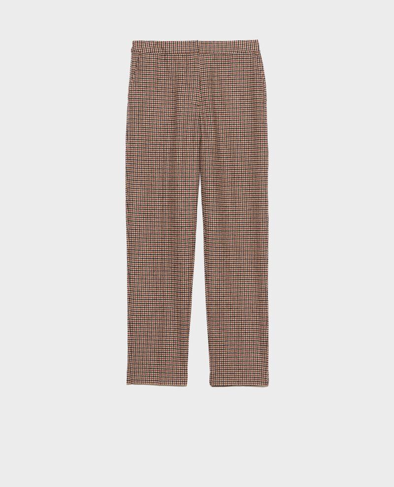 Pantalon MARGUERITE, 7/8e en laine mélangée Check Popeille
