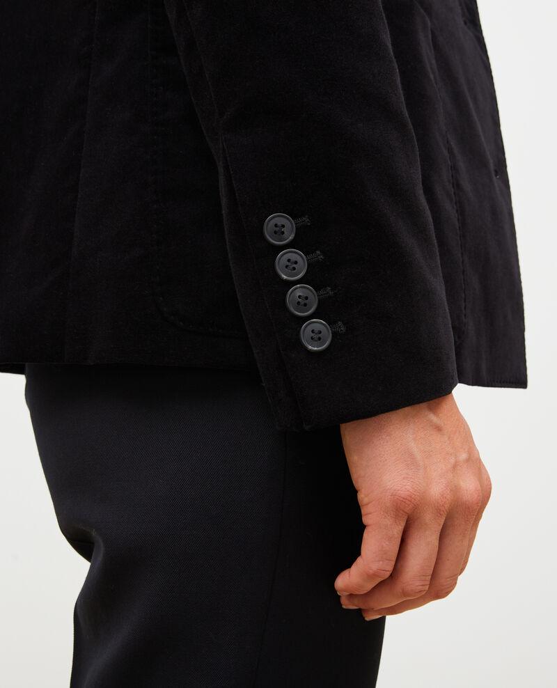 Blazer en velours deux boutons Black beauty Muscade