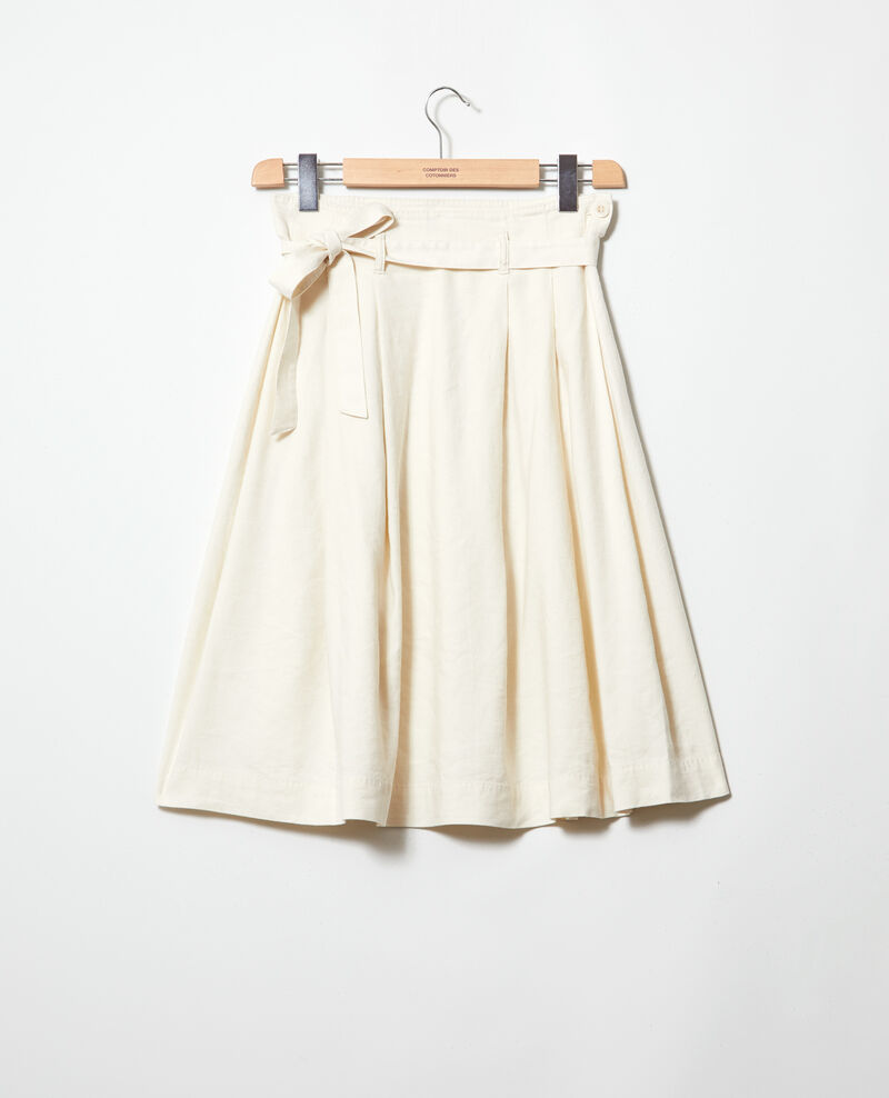 Jupe en coton lin Off white Ivinea