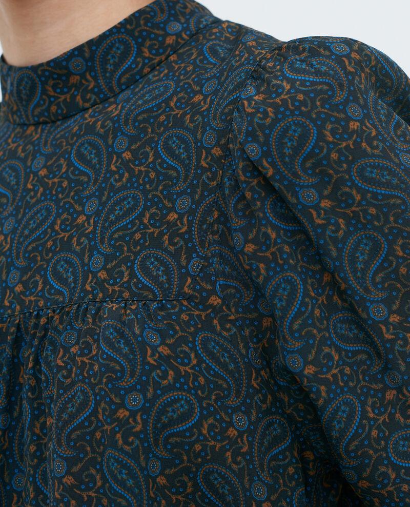 Haut froncé en soie Paisley blue Palante
