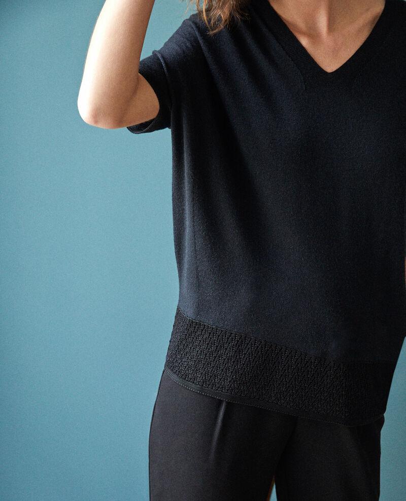 Pull en maille 3D manches courtes Noir Gemilio