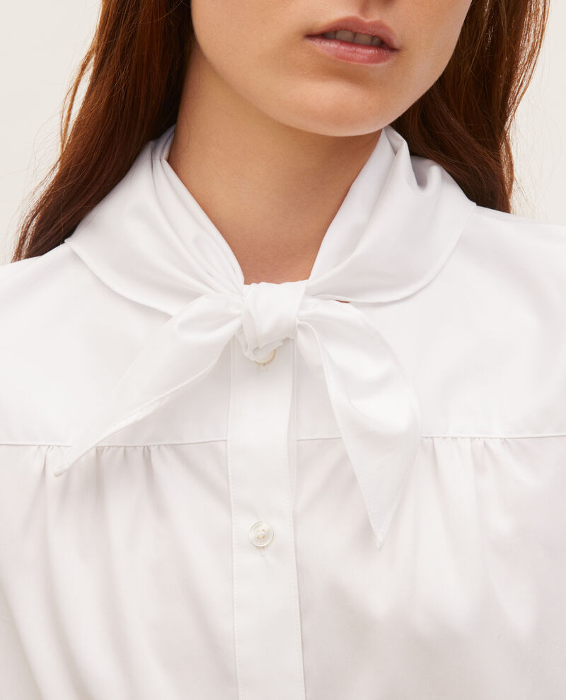 Blouse en coton à col foulard amovible Brilliant white Manosque