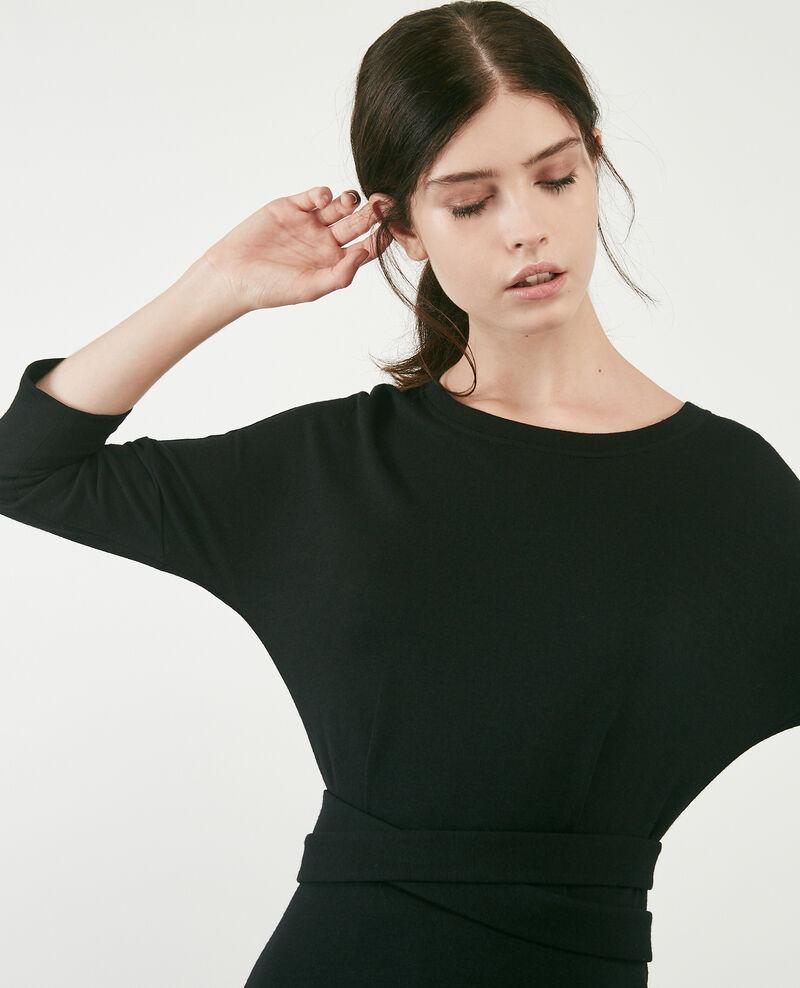 Robe en matière sweat avec laine Noir Devoiler