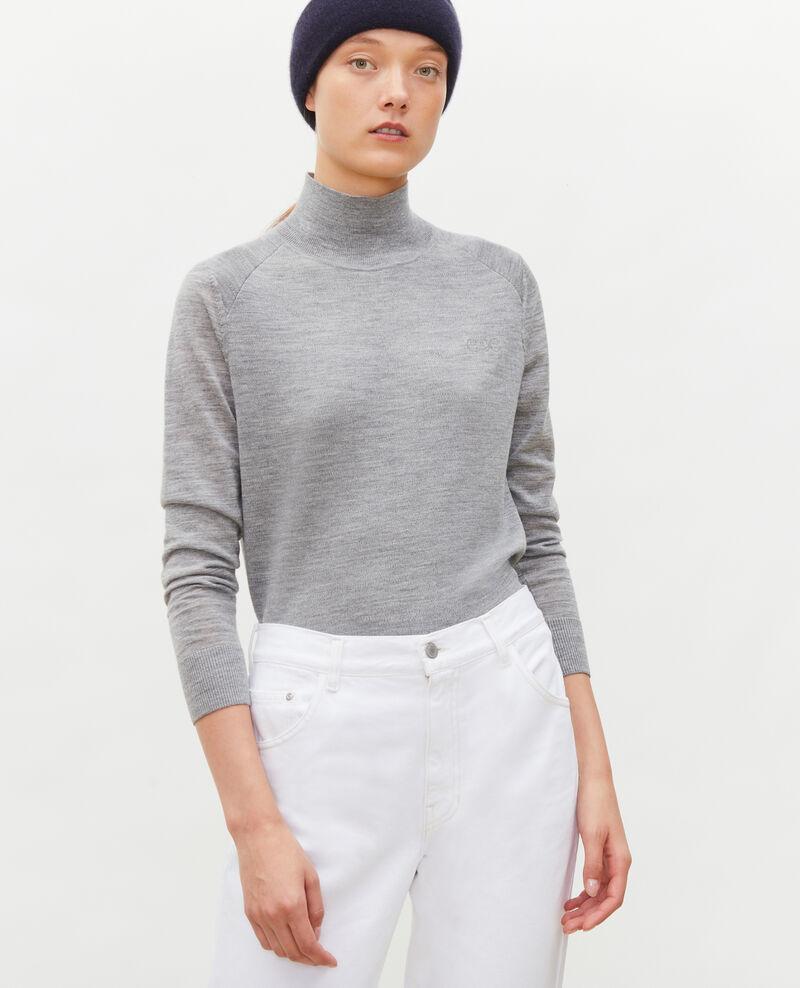 Pull en laine mérinos à col cheminée Light grey melange Malleville