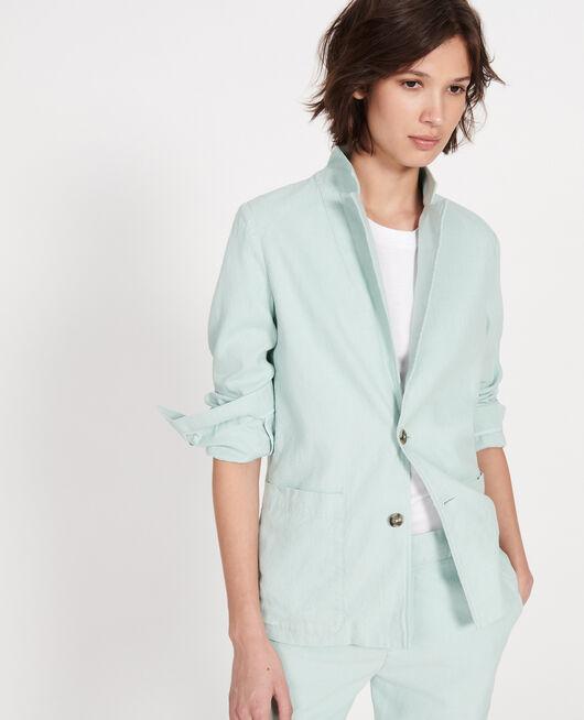 Veste de costume en twill de lin et coton mélangés BLUE HAZE