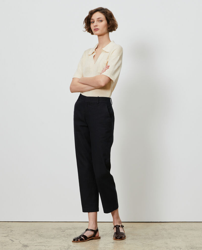 Pantalon 7/8e en coton et lin Black beauty Laiguillon