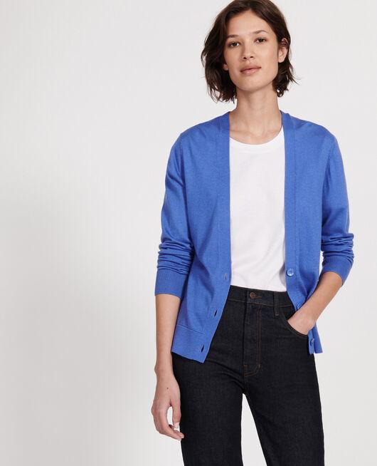 Cardigan soie coton et cachemire AMPARO BLUE