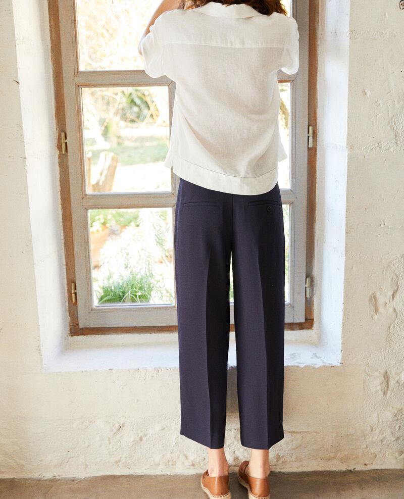Pantalon coupe carotte large Navy Ibia