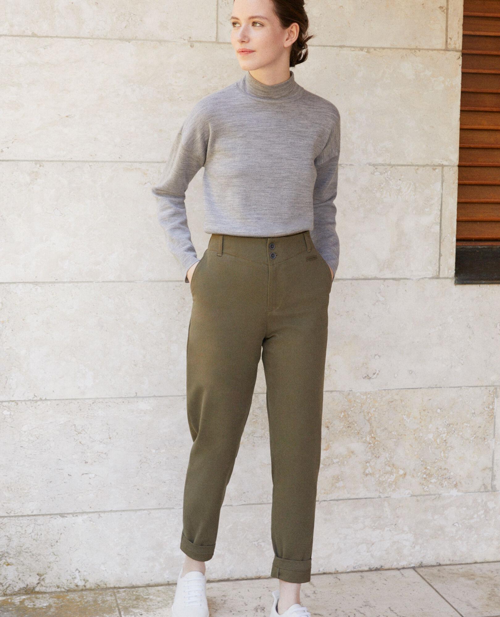 Pantalon Femme Olive Cotonniers Comptoir Gabini Chino Couleur Des qw7pqZBx