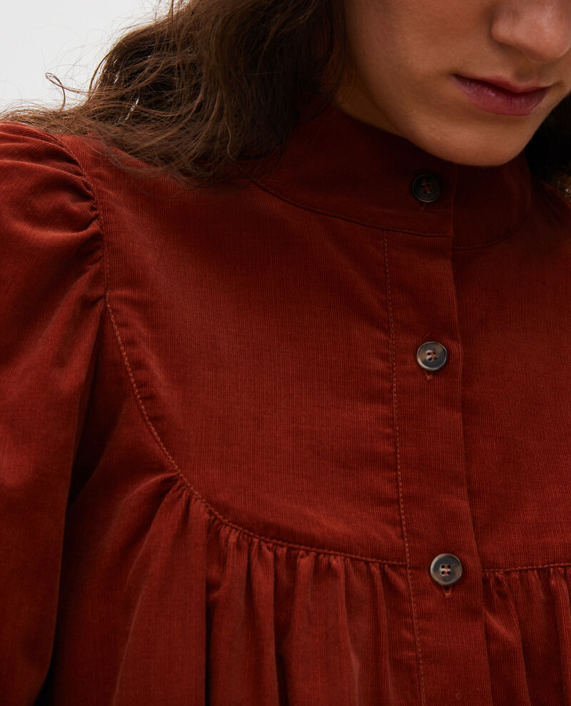 Robe ample en velours à plastron Brandy brown Marcheville