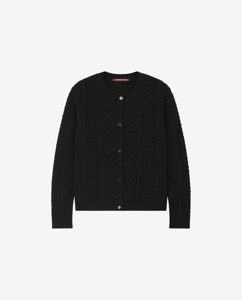 Cardigan torsadé en 100% laine Noir Dorigan