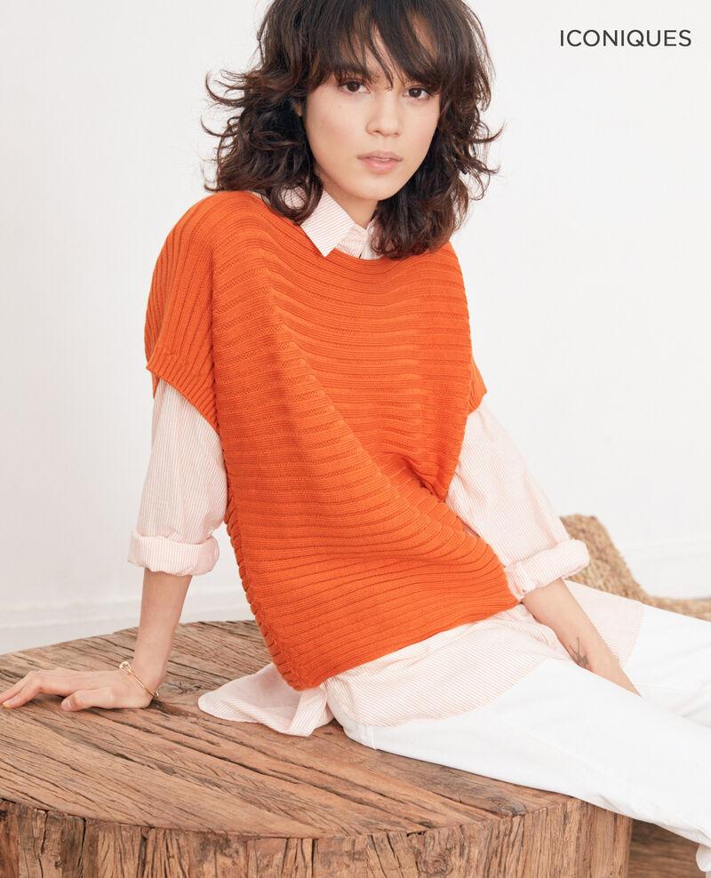 9b0cd28f5c6 Pull femme manches courtes en maille côtelée zéro couture couleur ...