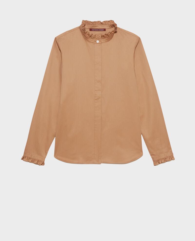 Chemise en coton à col volanté Latte Marcenat