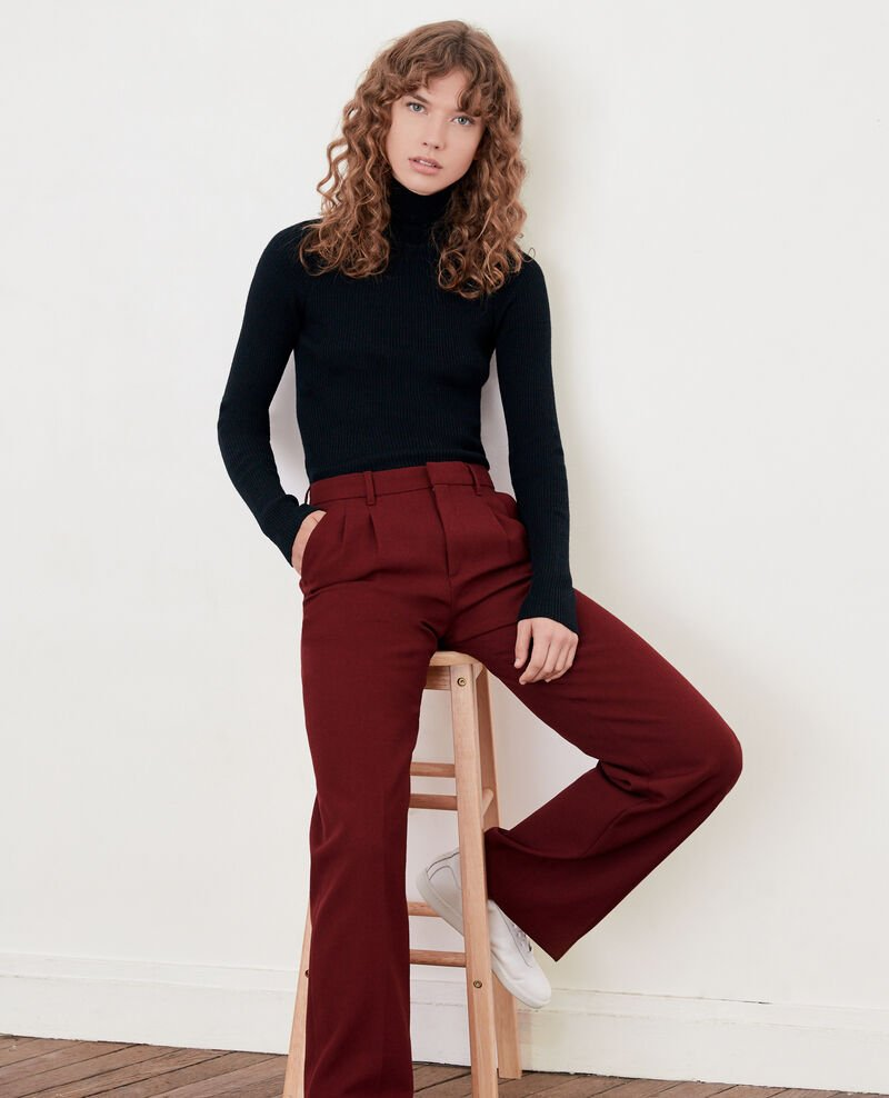 pantalon ample femme avec laine couleur burgundy declic. Black Bedroom Furniture Sets. Home Design Ideas