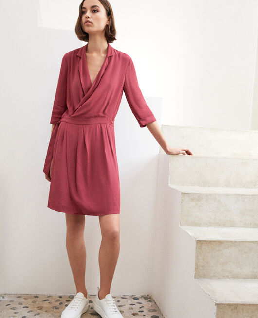 Robe portefeuille en viscose Rouge