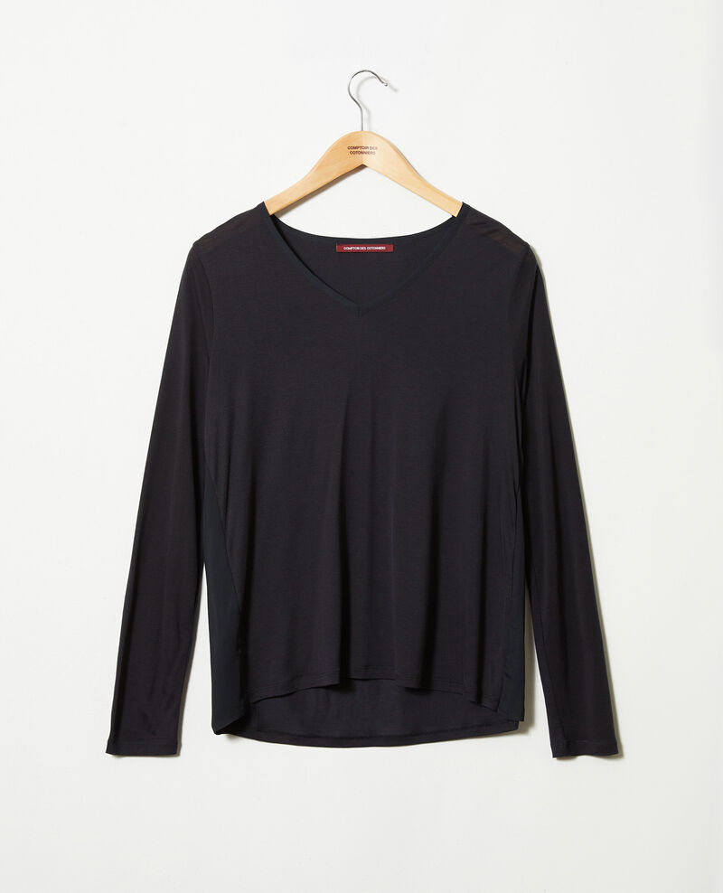 T-shirt bi-matière Noir Janga