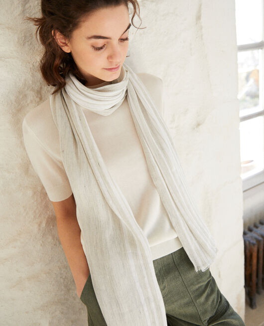 Foulard avec du lin LIGHT GREY/W