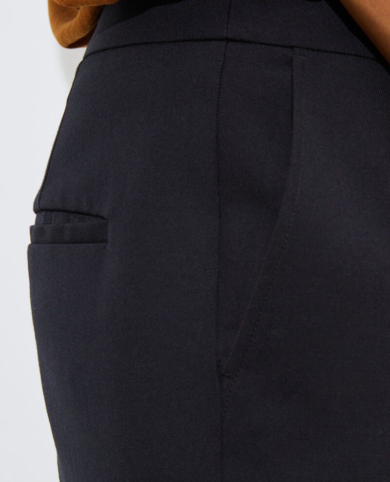 Pantalon MARGUERITE, 7/8e cigarette en laine Black beauty Moko