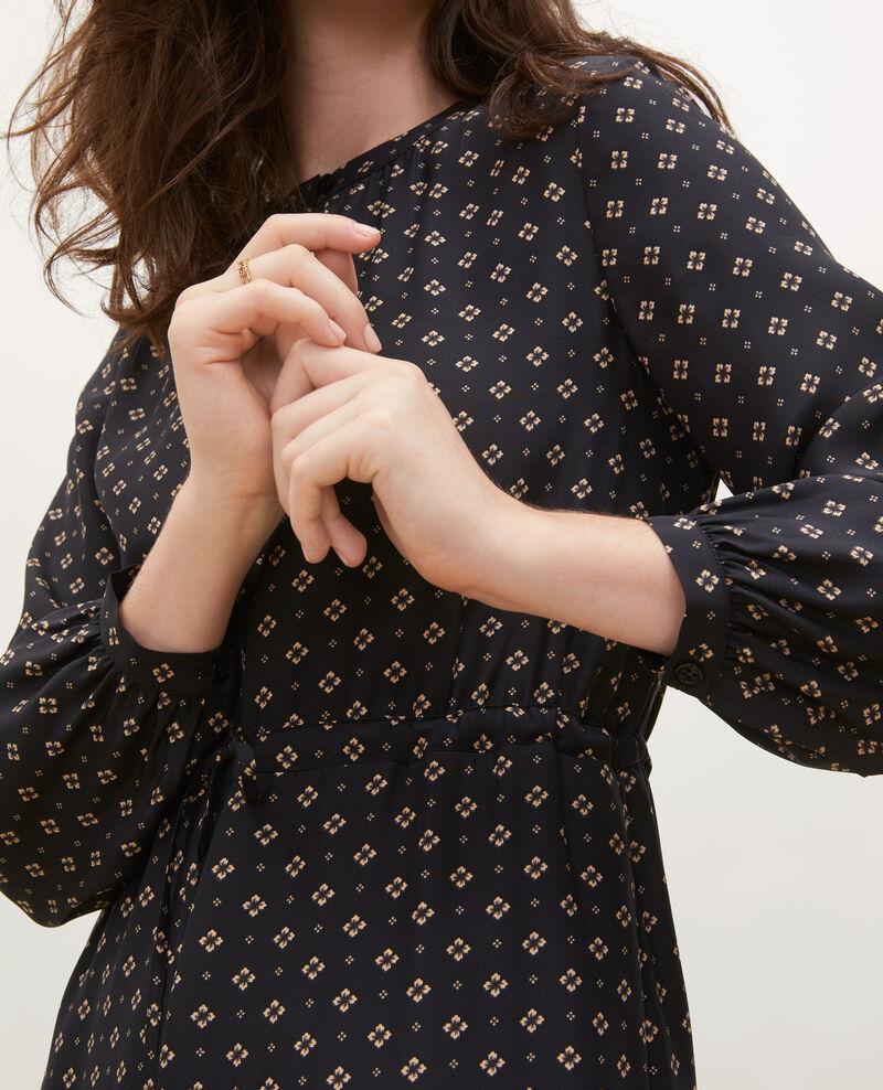 Robe ample en soie Print mosaique black Megrisa
